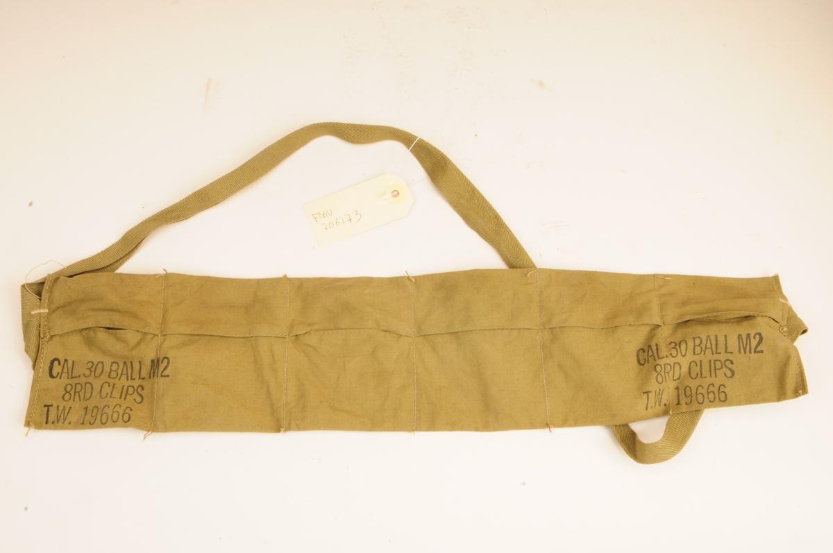 Bandolær for seks 8-skudds laderammer for Garandammunisjon. Merket T.W.19666