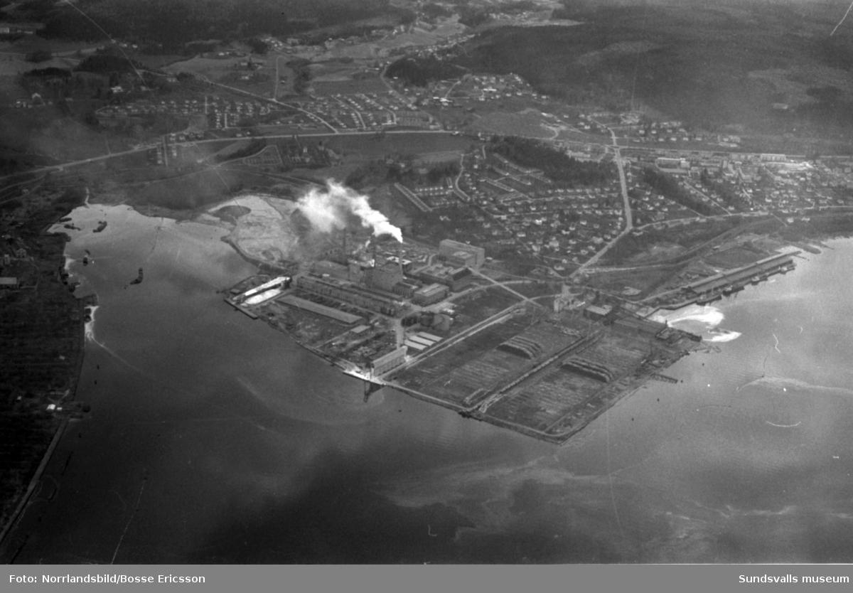 Flygfoto över Östrandsfabriken.