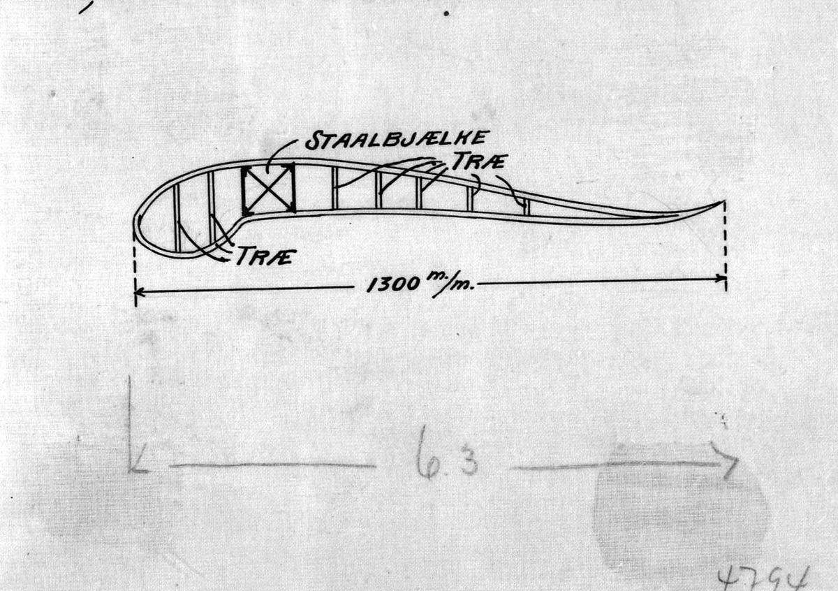 Skisse - tegning av ett fly. (Vinge).