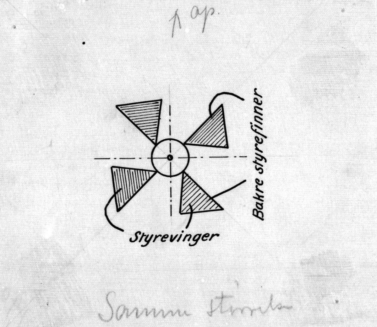 Skisse - tegning av ett fly. (Detaljskisse).