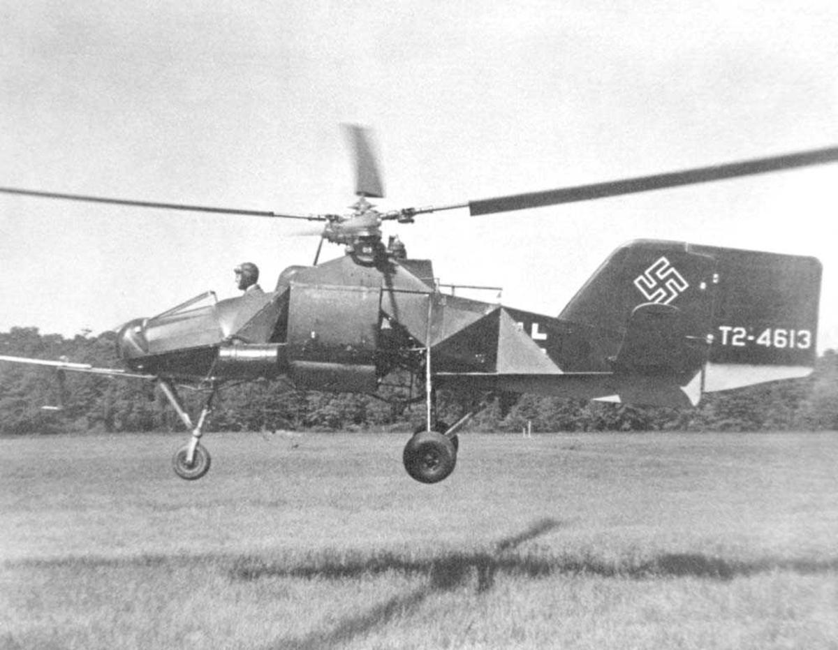 1 helikoptet i luften. Flettner  Fl 282 Kolibri.
