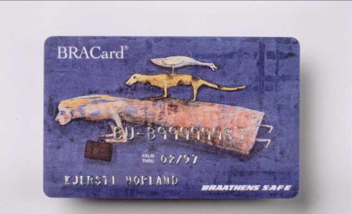Braathen SAFE sitt bonuskort. BRACard. Blå utgave med påskrift