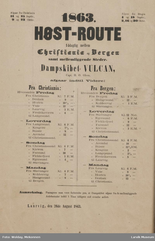 """Høstrute for d.s. """"Vulkan"""""""