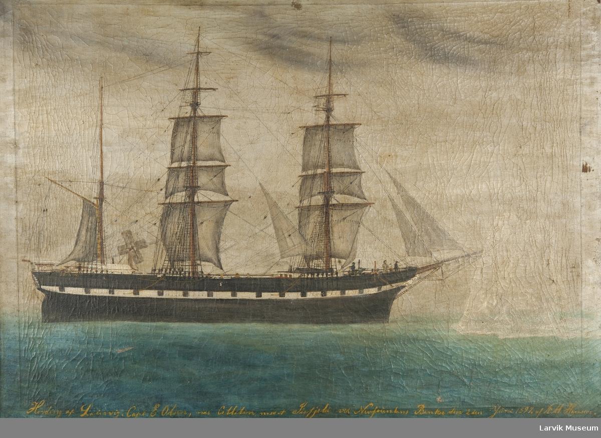 """Barken """"Høvding"""" av Laurvig. Mellom de to bakerste mastene ses et pumpesystem drevet av vindkraft."""