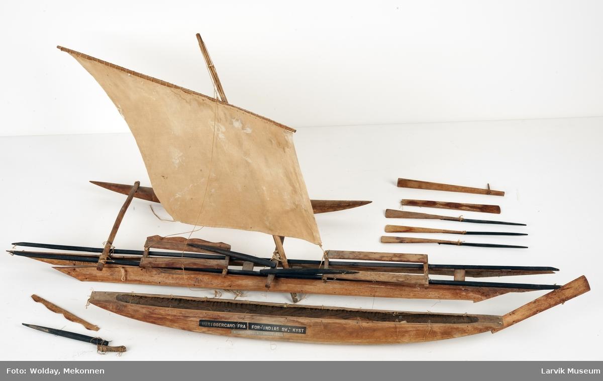 Modell av utriggerkano fra Det Indiske hav