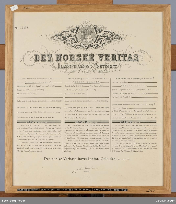 Klassifikasjons Certificat nr. 34498 for stålmotorskipet Peter Wessel, Larvik. Bygget 1937 i Aalborg.