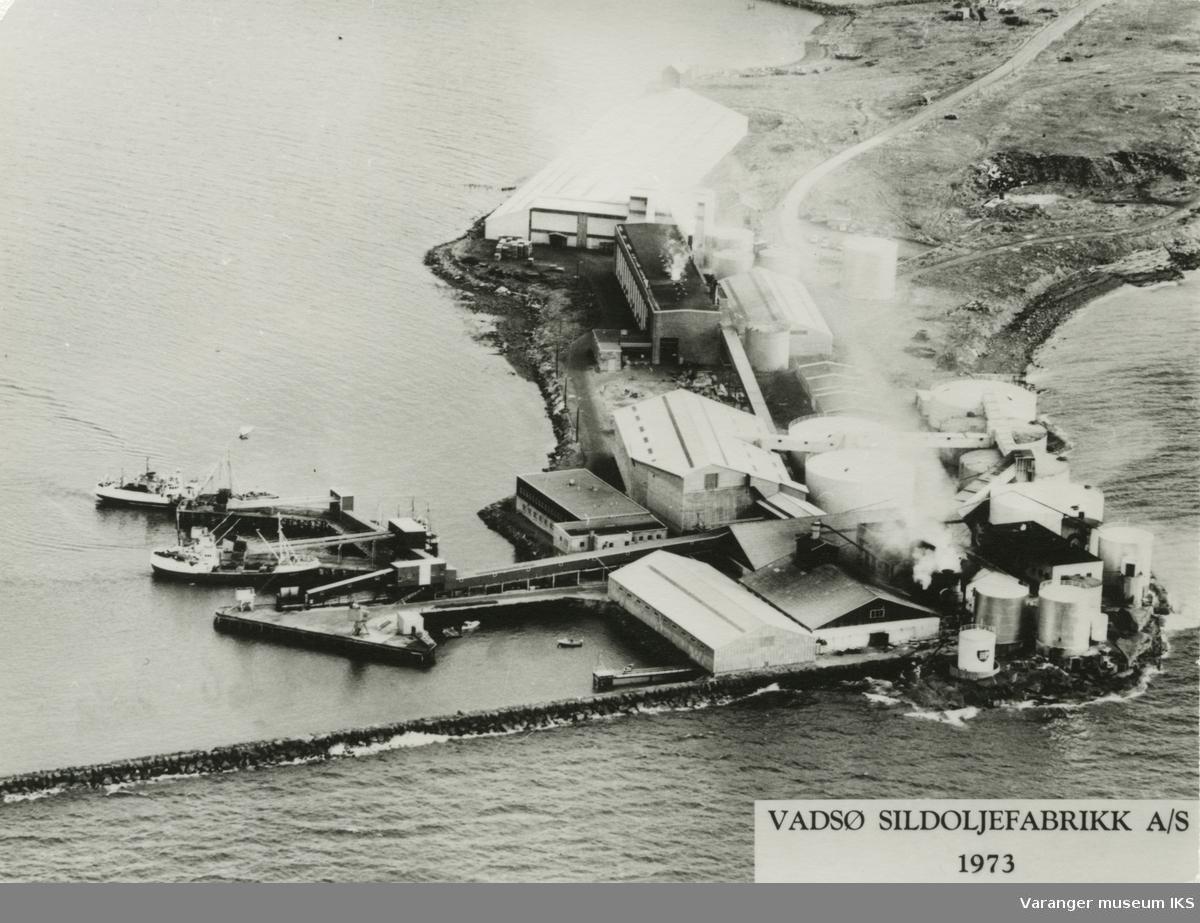 Vadsø Sildeoljefabrikk A/S fotografert ovenfra, 1973