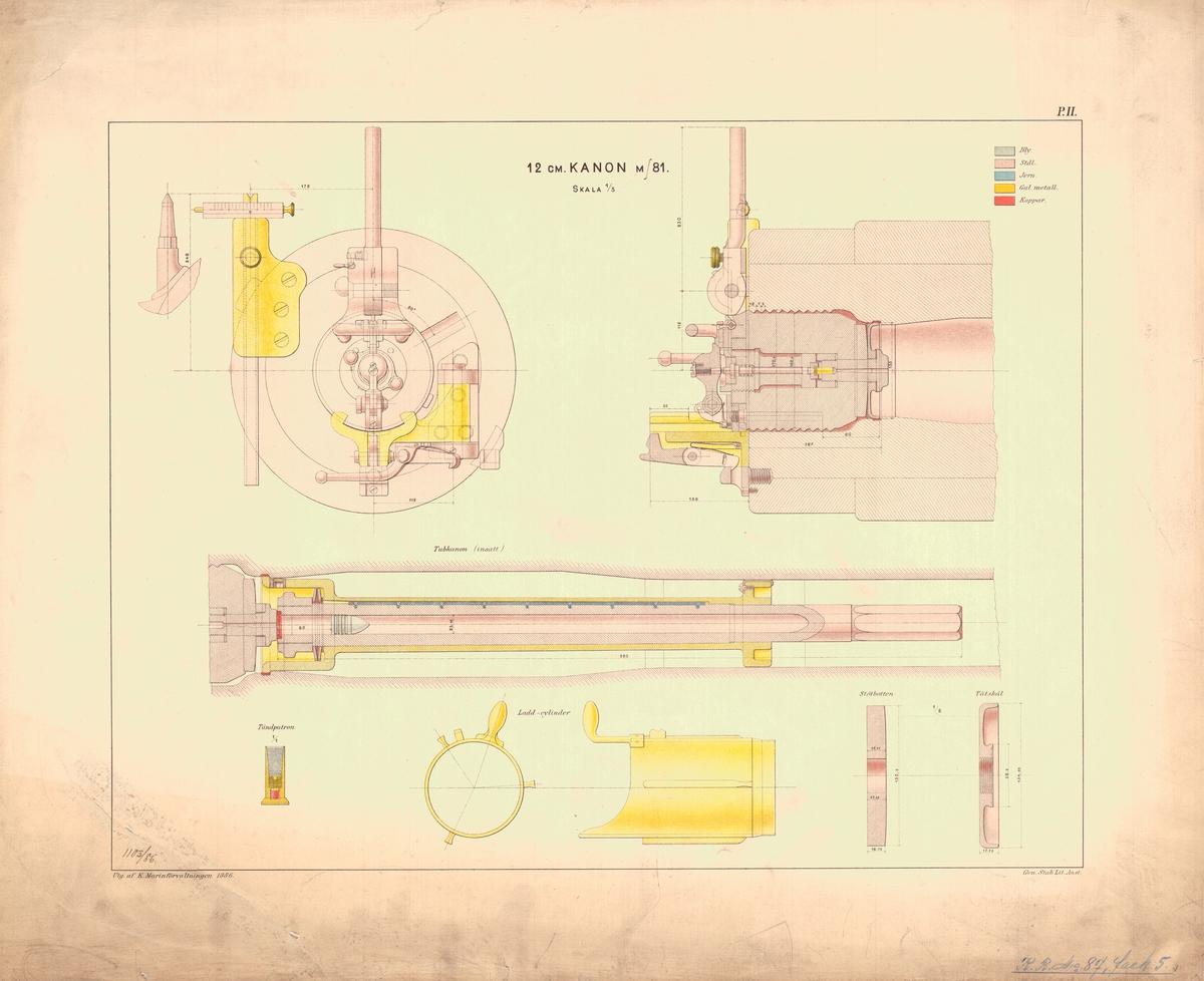 12 cm kanon m/81. Utgiven av Marinförvaltningen 1886