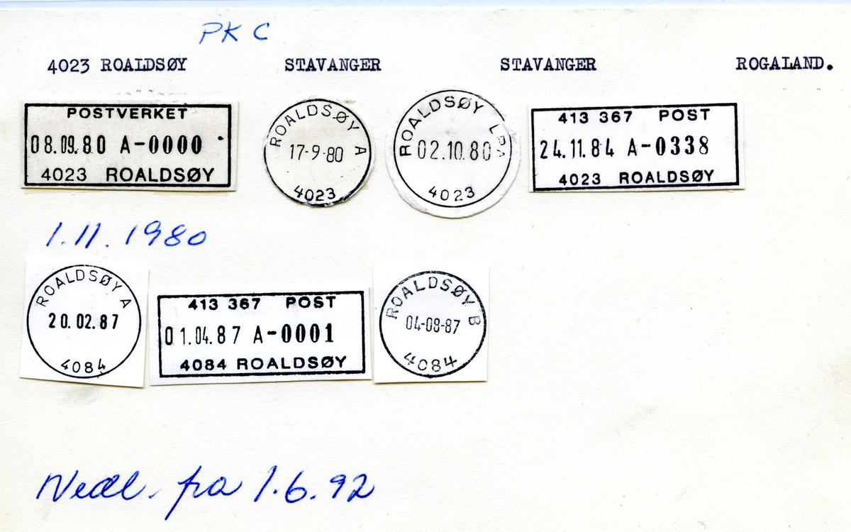 Stempelkatalog 4023 Roaldsøy, Stavanger,Rogaland
