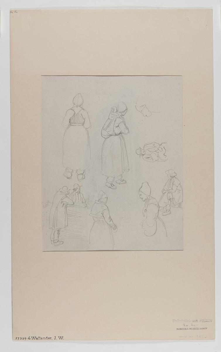 Handteckning av J W Wallander. Kvinno- och mansdräkter från Rättvik, Dalarna. Nordiska museets inventarienummer 57339k.