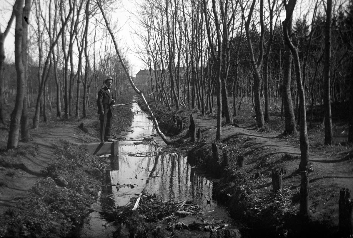 En man med pipa i handen står vid ett vattenfyllt dike med träd på båda sidorna.