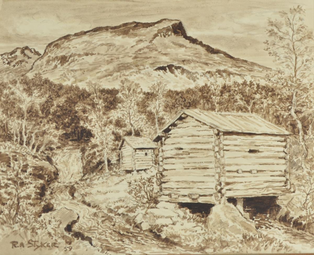 Motivet viser en landskapscene med et laftet hus i forgrunnen [kvernhus?]. Bakenfor dette ligger enda et laftet hus, og bygningene er omgitt av spredte bjørketrær. Til venstre i bildet går en elv, og i bakgrunnen kan man se en tett skog. I bakgrunnen ser man en fjelltopp som kan bidra til å befeste motivet geografisk.