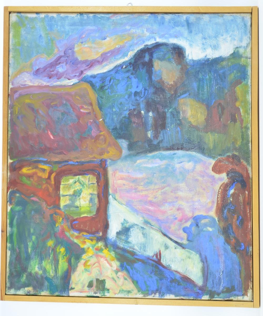 Motivet er sterkt stilisert, viser deler av langveggen og skråtaket av en bygning med vindu. Rundt bygningen er landskapet malt med avrundede former i ulike farver, og helt i bakgrunnen er hvitt, lilla, og oransje brukt til å insinuere konturene av en fjelltopp.