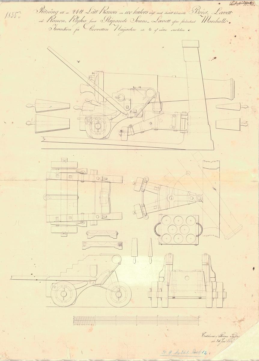 Ritning till en 24 pundig lättkanon om 100 kulors vikt med därtill hörande bröstlavett och kanonklyka samt släpande svanslavett efter förändrad Marshalls invention för korvetten Najaden.