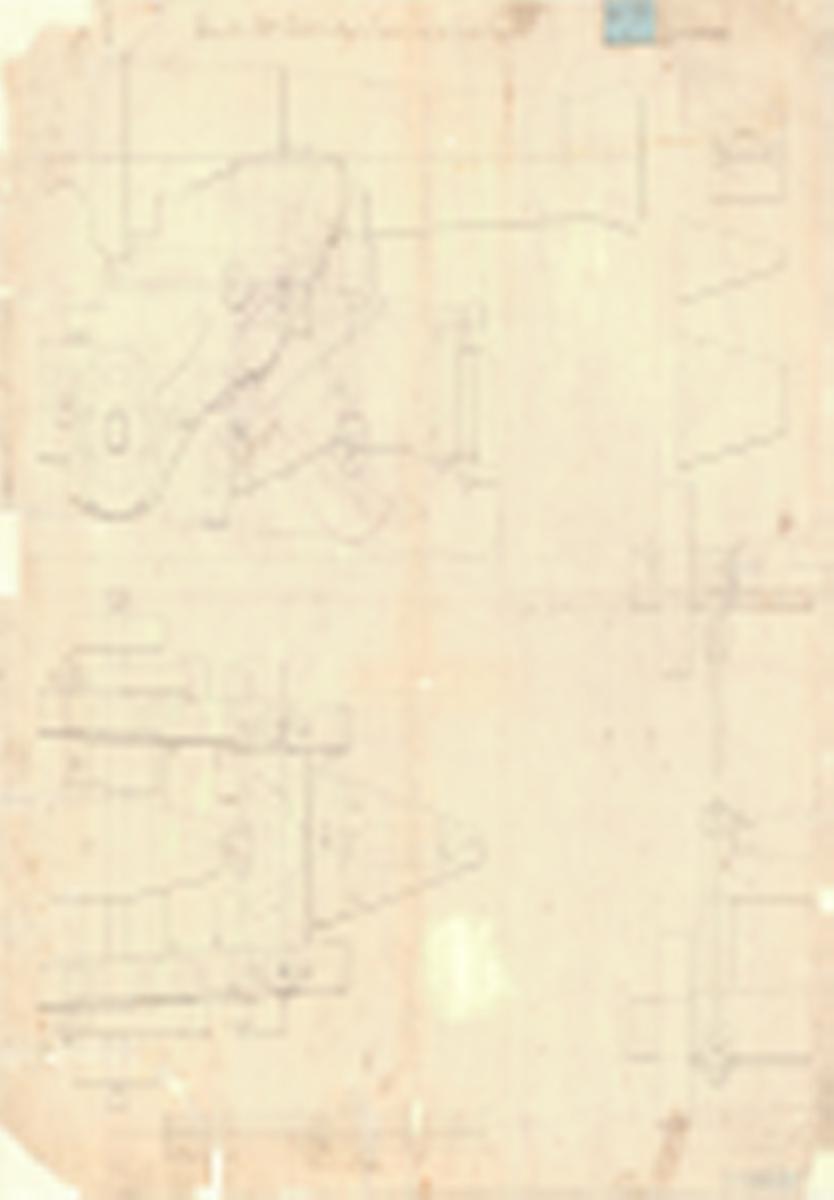 Ritning till en 24 pundig Marshallslavett med transportlavett till fregatten Eugenie