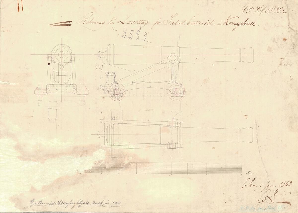 2 st ritningar till lavettage för salutbatteriet å Kungshall