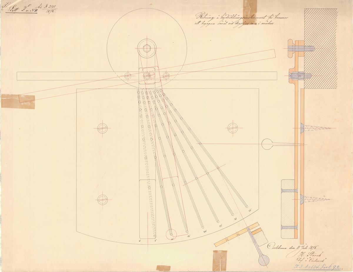 Ritning till höjdriktningsinstrument för kanoner att begagna såväl i dagsljus som i mörker