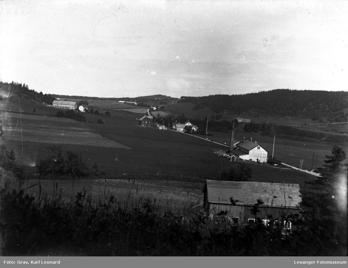 Butikk, meieri, skole, gamleheim og gårder, Mebygda, Naust, Ytterøy. Tettsted med ysteri, butikk og gammelheim