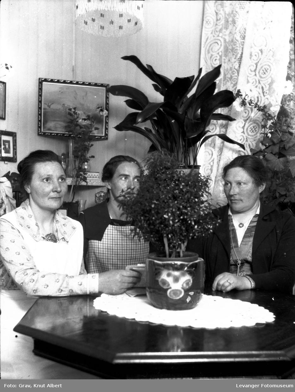 Gruppebilde, tre kvinner ved bord
