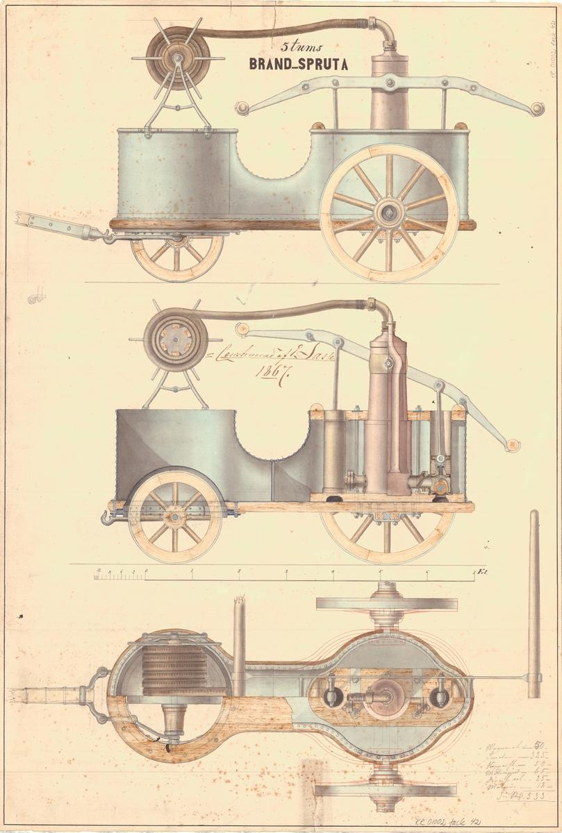 Sammanställningsritning till 9 tums Dawntons pump monterad.