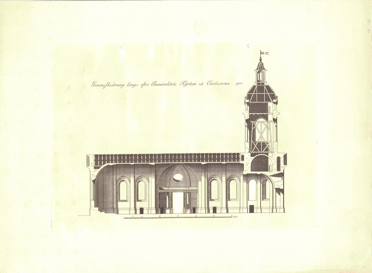 Amiralitetskyrkan i Karlskrona Genomskärningsritning