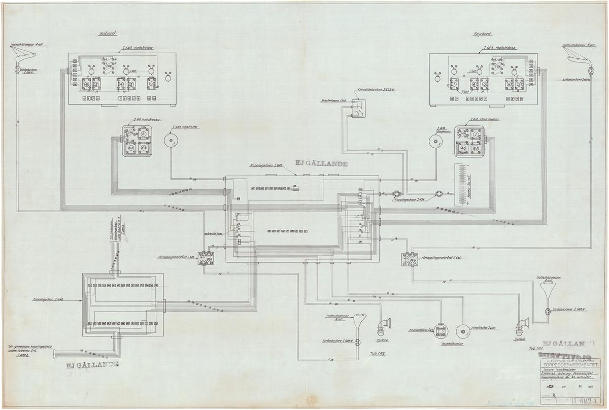 2 st sammanställningsritningar å elektrisk avfyrning, provisorisk kopplingsschema vid dubbeltuber