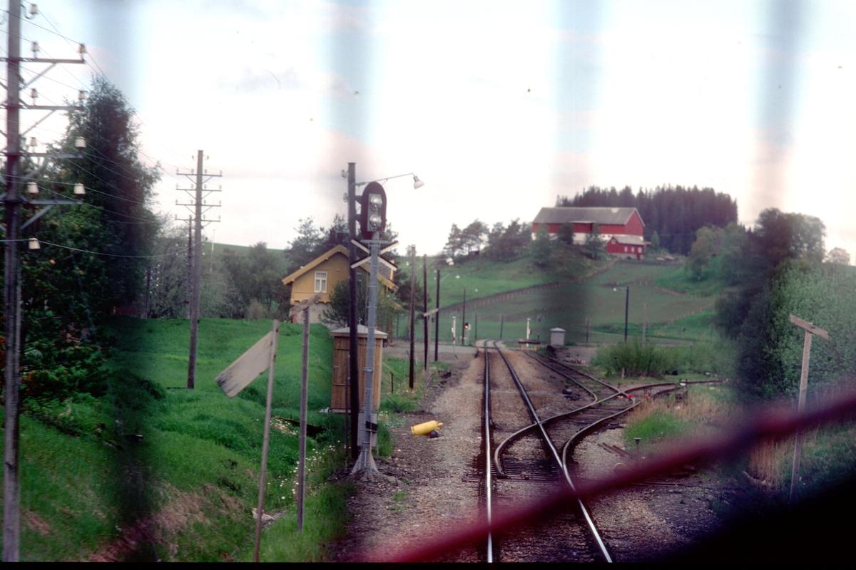 Rinnan holdeplass og lasteplass sett fra lokomotivet i tog 456, nattoget Bodø - Trondheim. Tidligere stasjon.