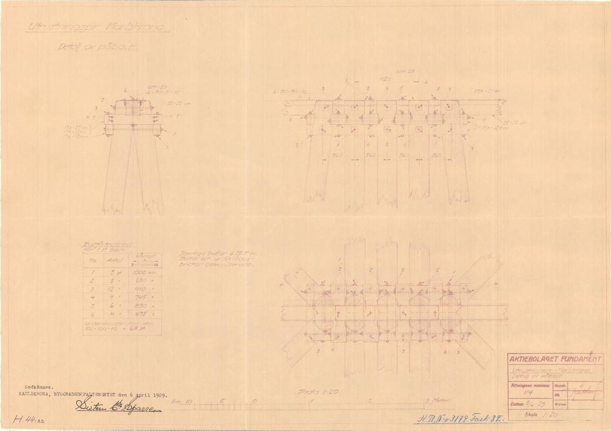 Utrustningspir Detalj av pålbock