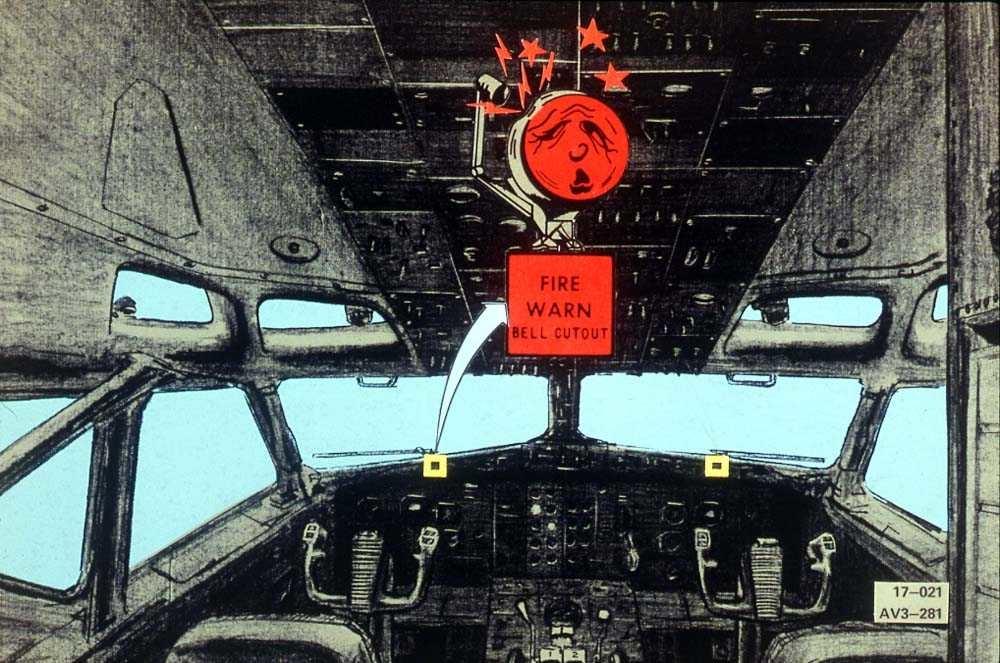 Tegning av cockpiten på en Boeing 737-200. En brannalarmvarsler er forstørret.