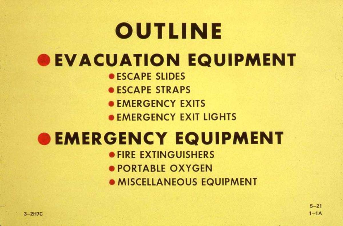 Skjema som viser evakuerings og nødutsyr som finnes i kabinen på ett fly, Boeing 737-200.