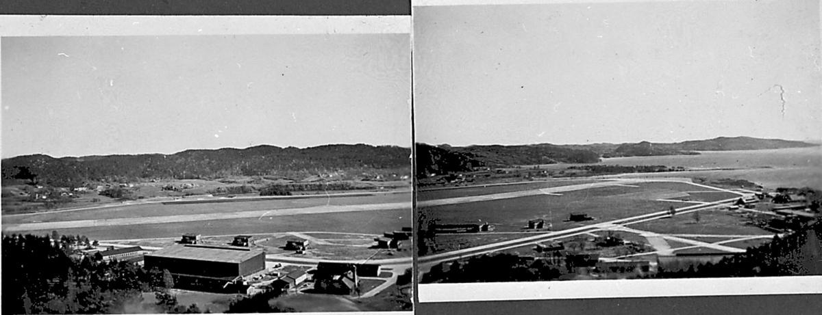 Oversiktsbilde over lufthavn.  Består av 2 bilder som er satt sammen.