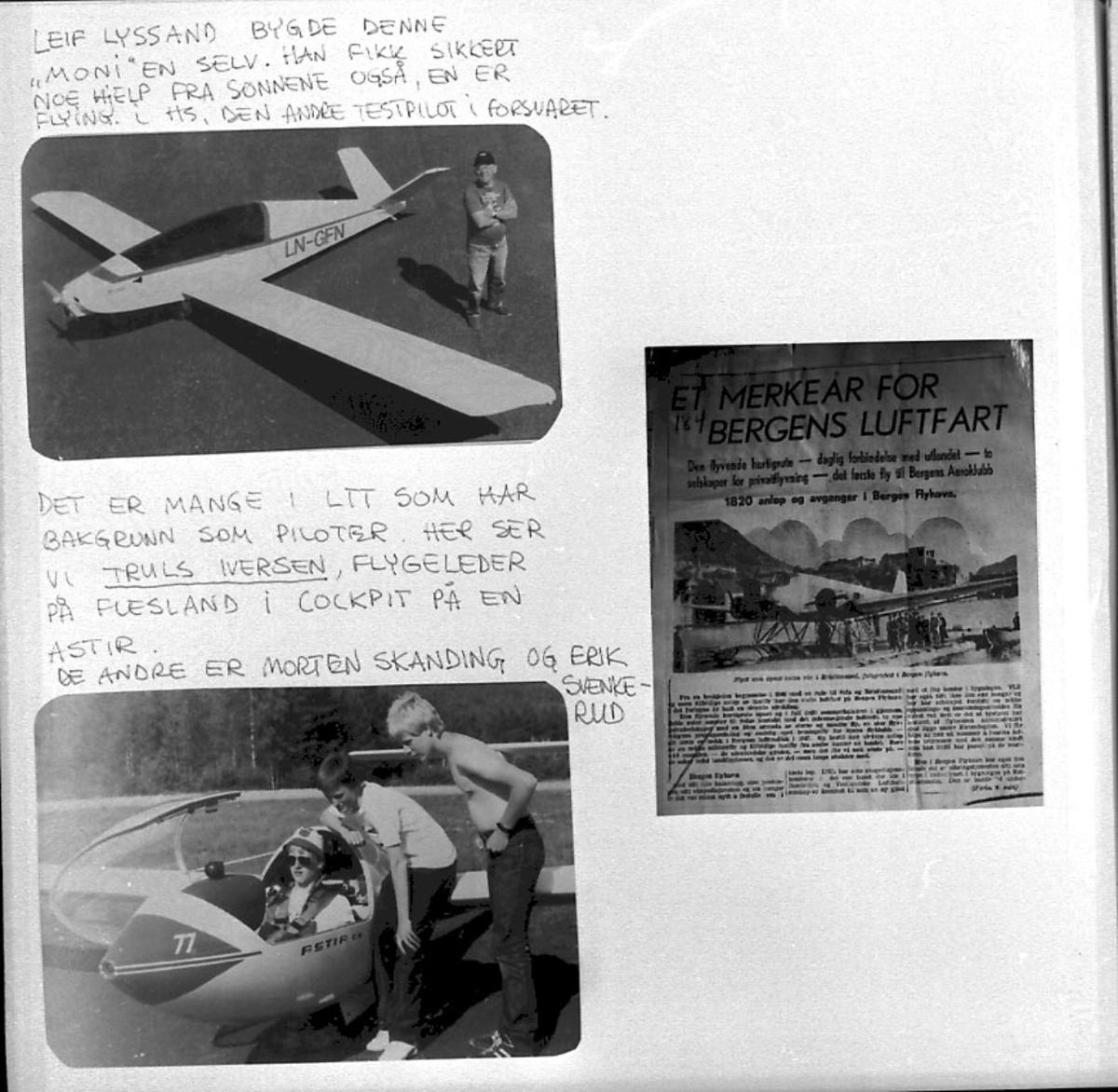 Maskinkopi av 3 foto med billedkommentarer. 2 fly, Moni, LN-GFN og Astir. Portrett 4 personer.