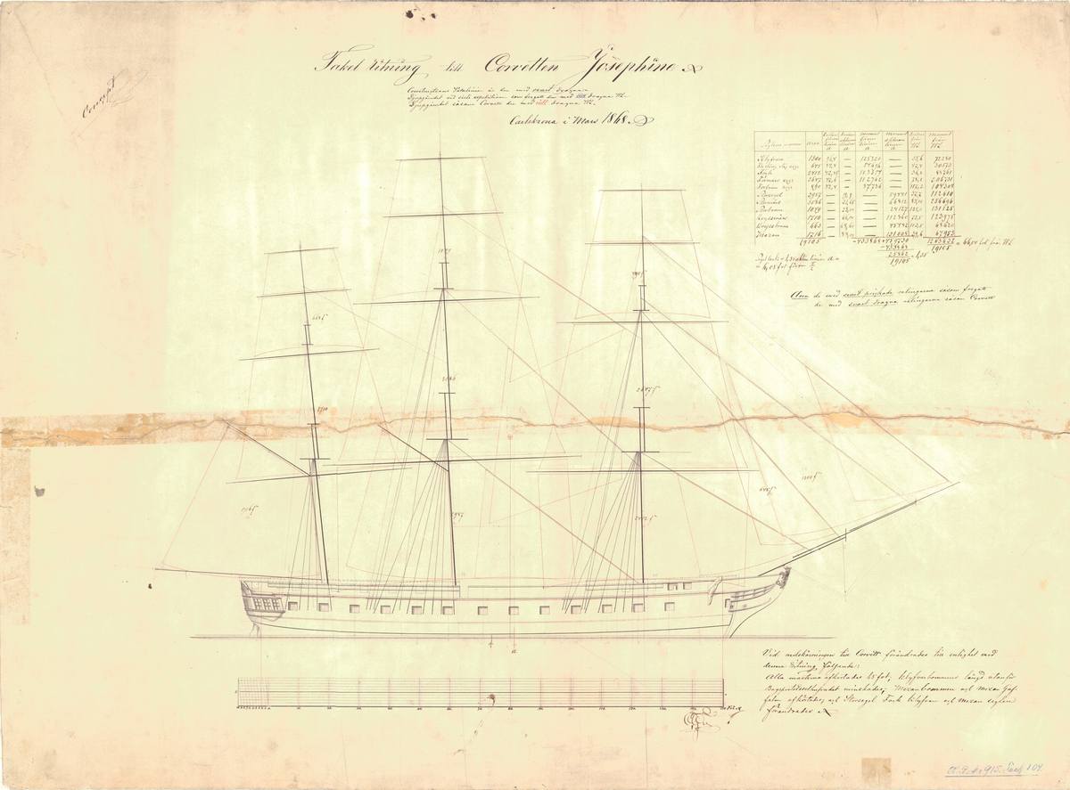 Tackelritning till korvetten Josephine, 1868.