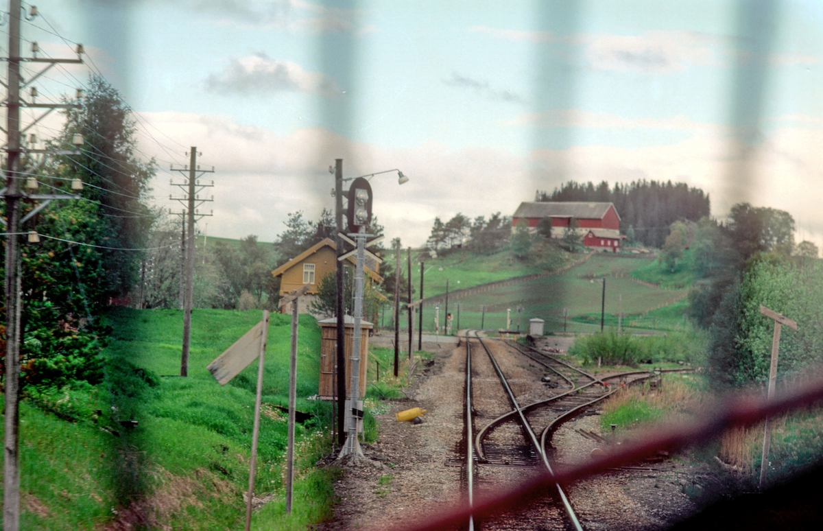 Rinnan stasjon sett fra lokomotivet i tog 456, natthurtigtoget Bodø - Trondheim.