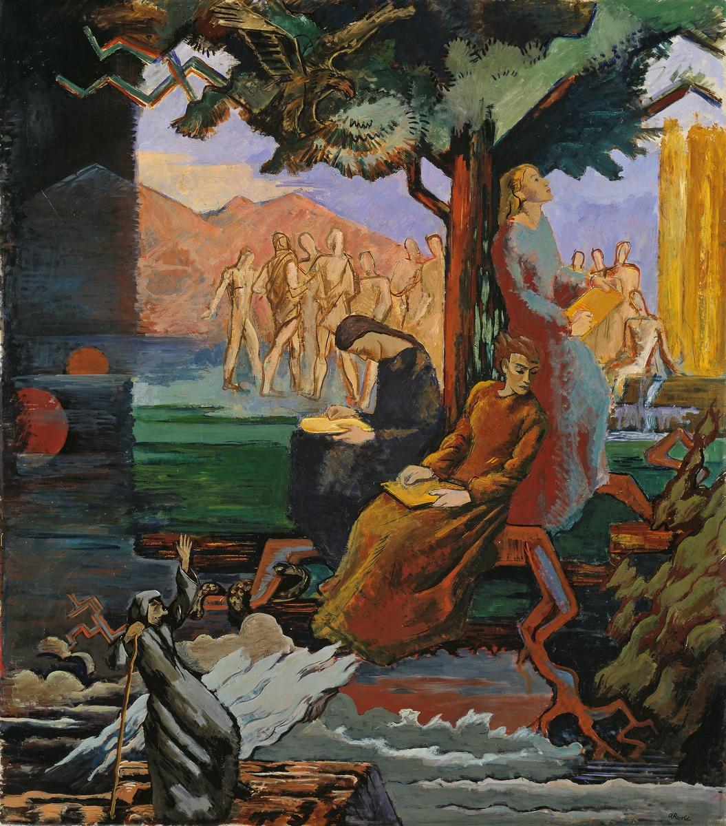Yggdrasil. Utkast til freske i Universitetsbiblioteket i Oslo [Maleri]