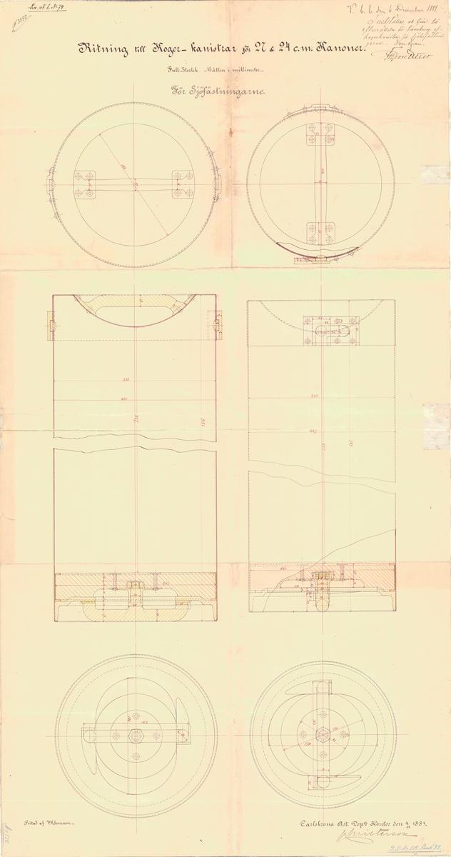 Ritning till Kogerkanistrar för 27 och 24 cm kanoner, för sjöfästningarna