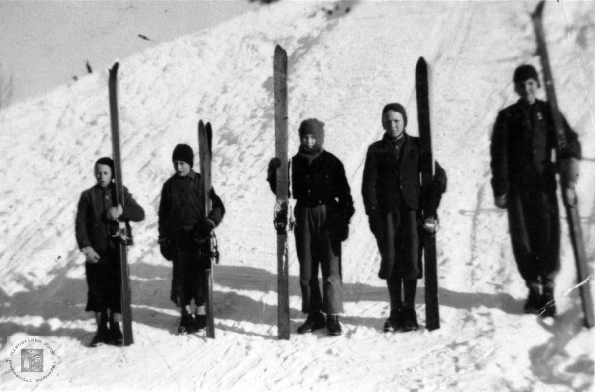 Skiløpere på Breland