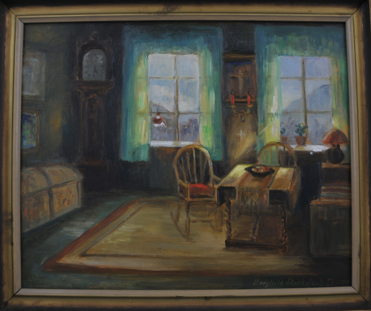 "Interiør frå Seljord Prestegard, kalla ""Søndagsfred""."