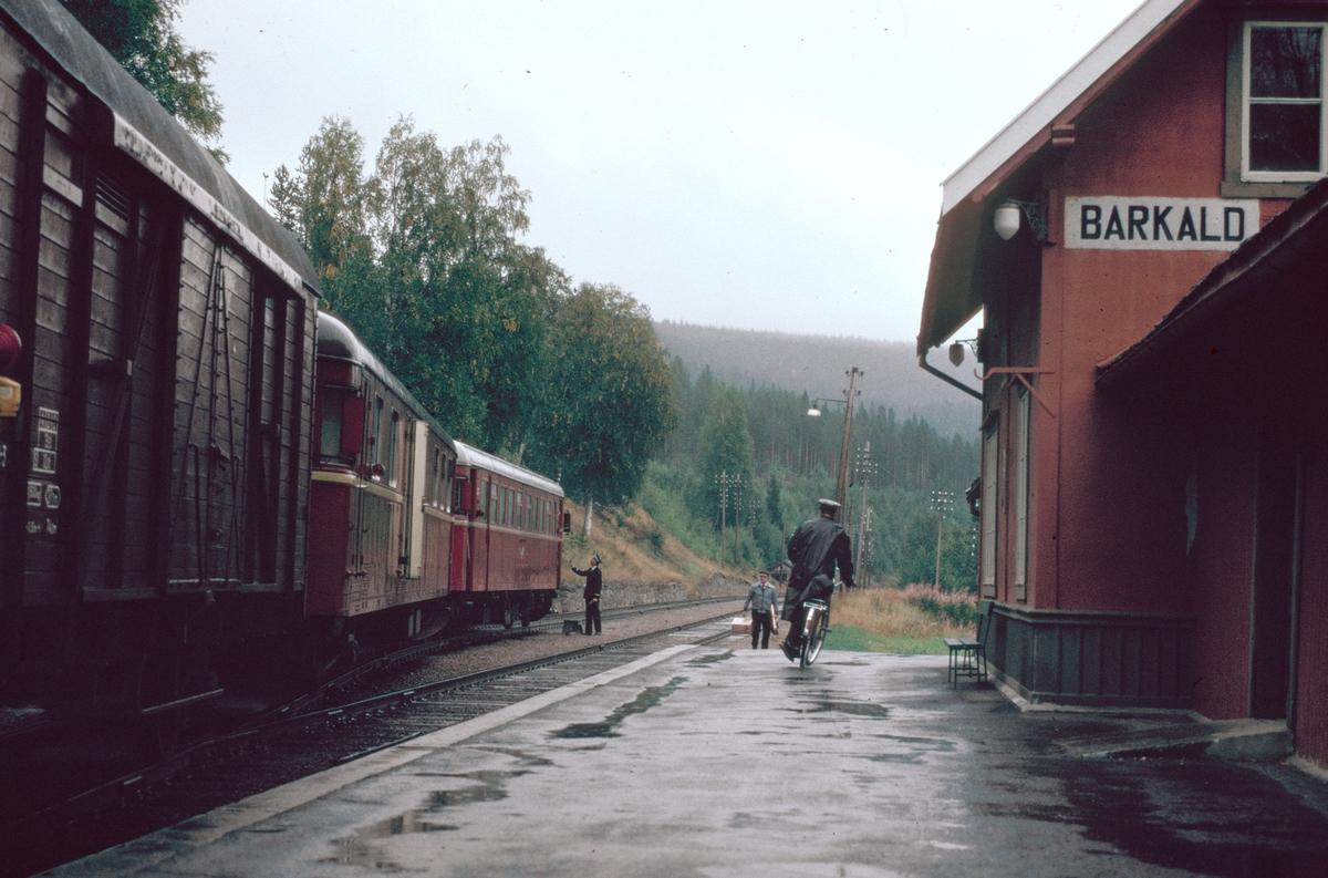 Persontog 372 (Røros - Hamar) på Barkald stasjon. Togekspeditøren har syklet inn fra innkjørsignalstedet. Toget skal krysse tog 301.