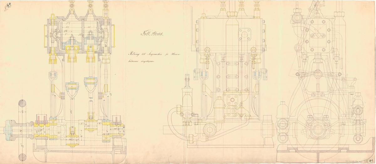 Sammanställningsritning till ångmaskin för kanonbåtarnas ångslupar.