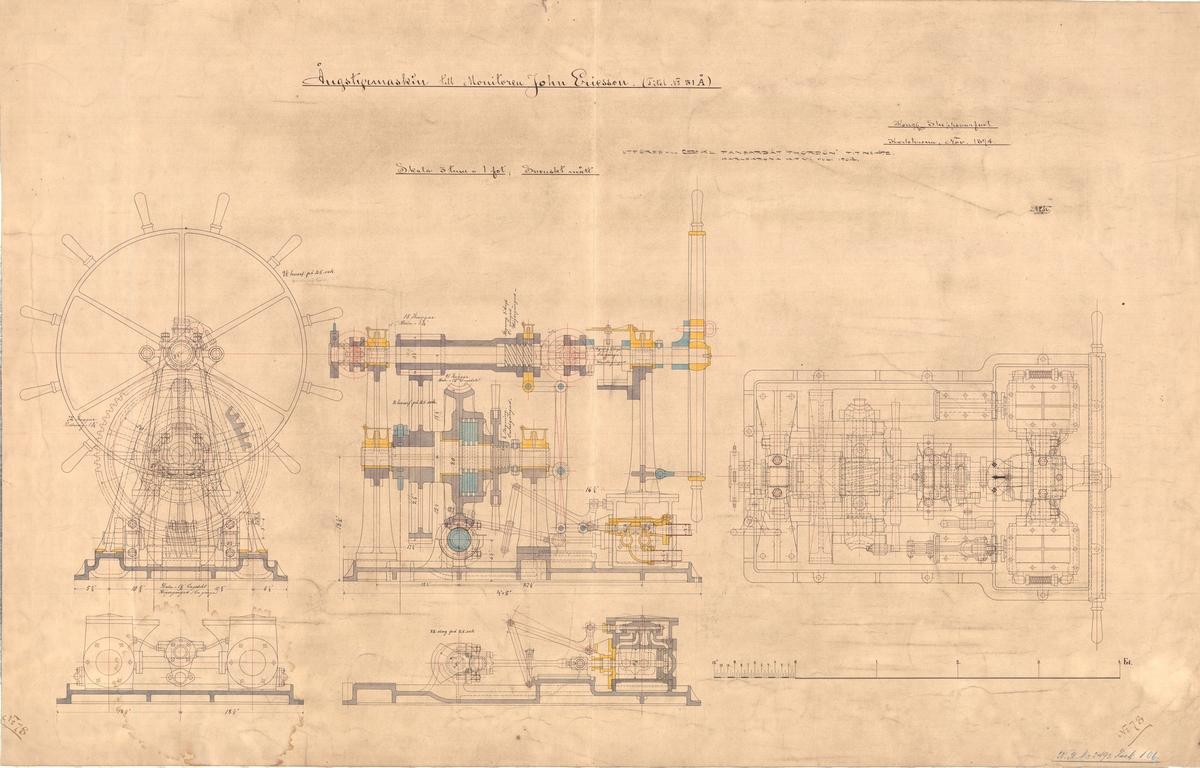 Sammanställningsritning på ångstyrmaskin till monitoren John Ericsson. Utföres till 2:a klass pansarbåt Thordön år 1904.