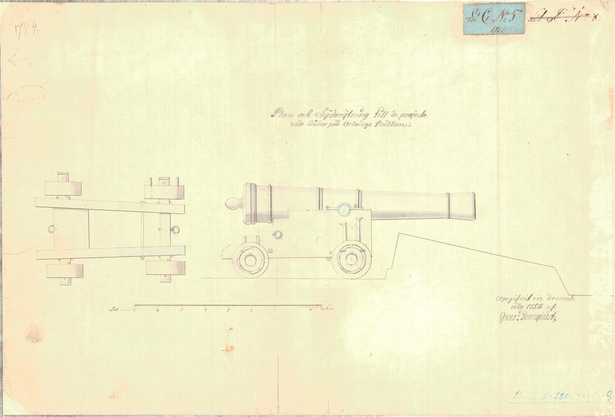 Plan och sidoritning till de projekterade lådor på örlogs flottan.
