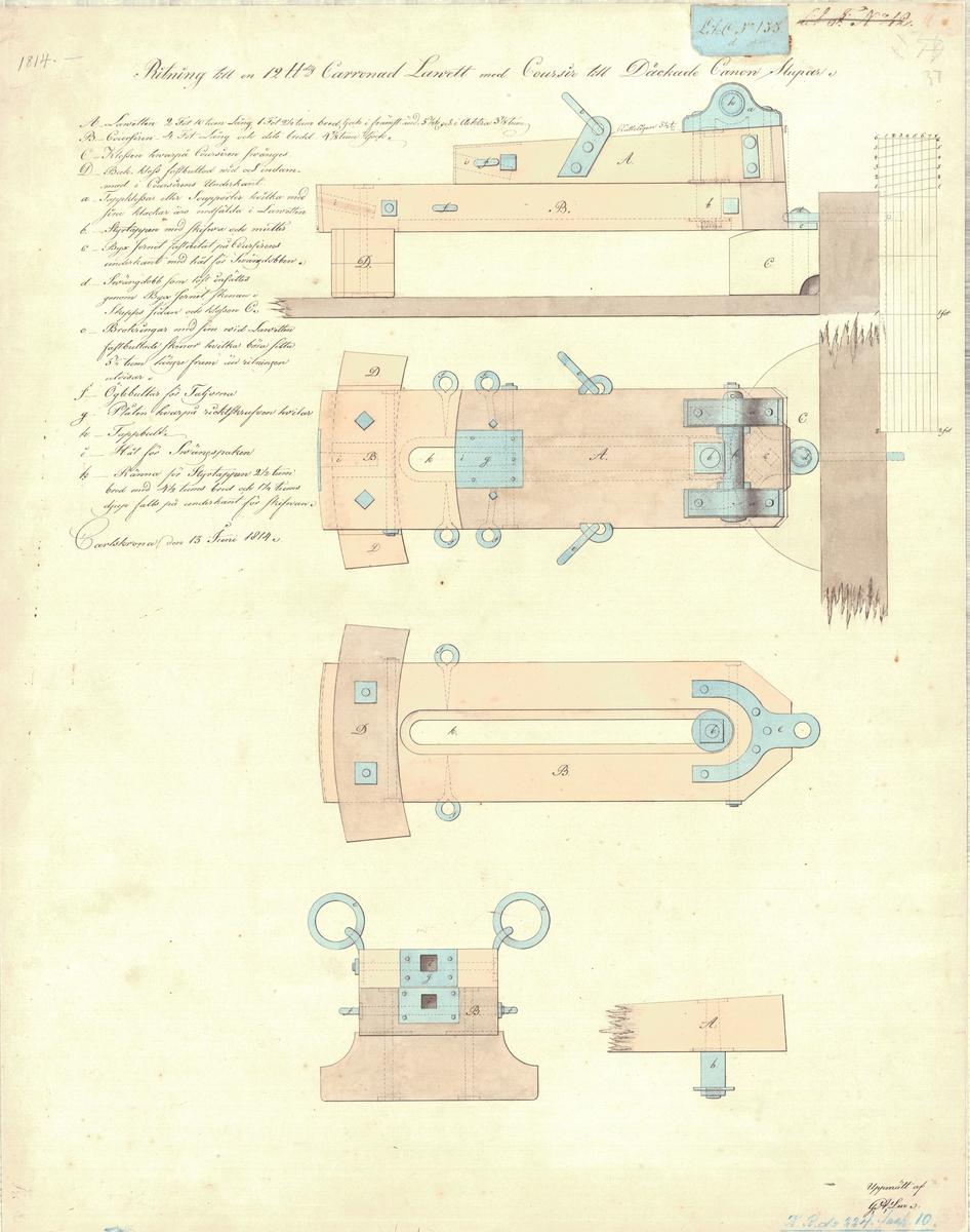 Ritning till en 12 pundig karronadlavett med kursör till däckade kanonslupar
