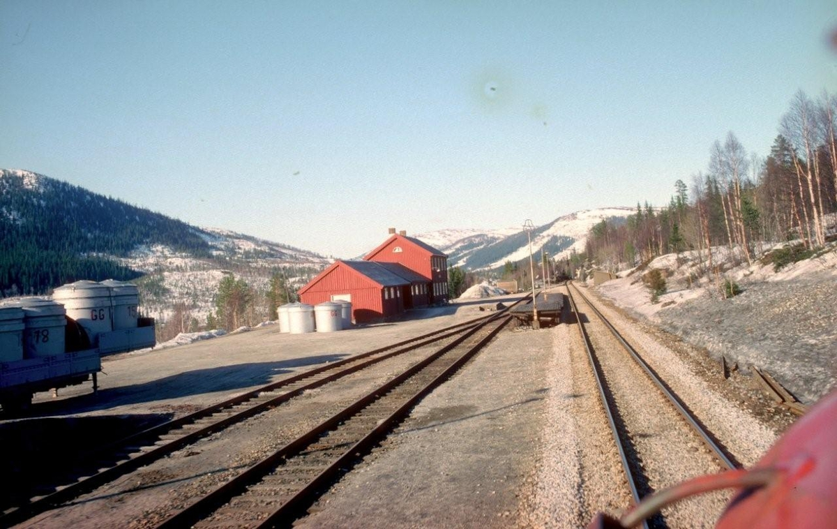 Godstog 5793 passerer Brekkvasselv. Beholdere fra Skorovas Gruber.