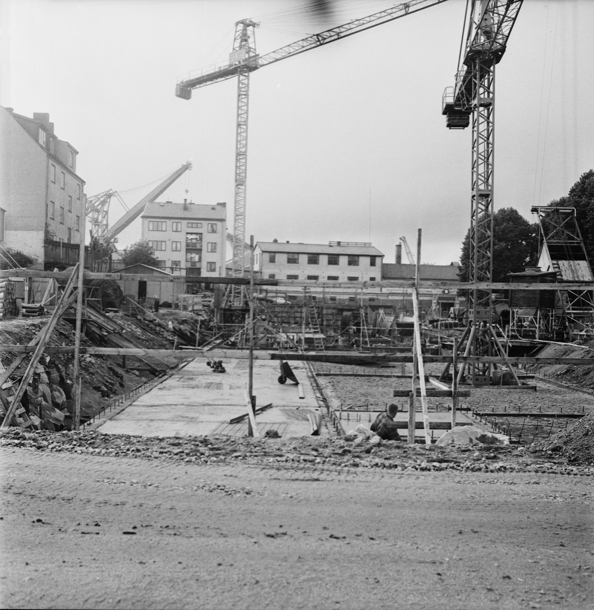Övrigt: Foto datum: 7/9 1965 Byggnader och kranar Kvarteret Pollux