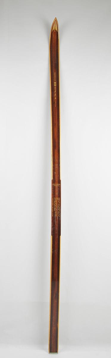 Langrennski laga av tre. Lakkera brun overflate med trekvite sidekantar. Metallbeslag bakre tupp. Bonna-emblem i gull på framtupp.