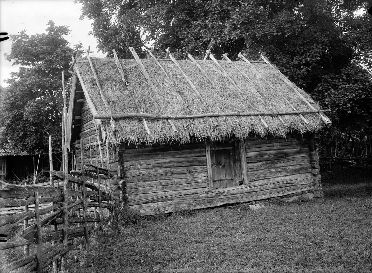 Bod med halmtak, Kvekgården, Fröslunda socken, Uppland 1929