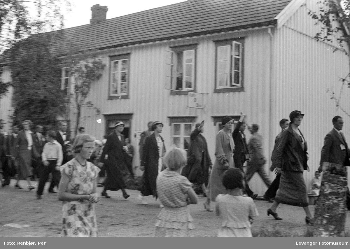 Fra Nasjonals Samlings riksmøte på Stiklestad i 1934.Marsjen fra Verdal til Stiklestad.