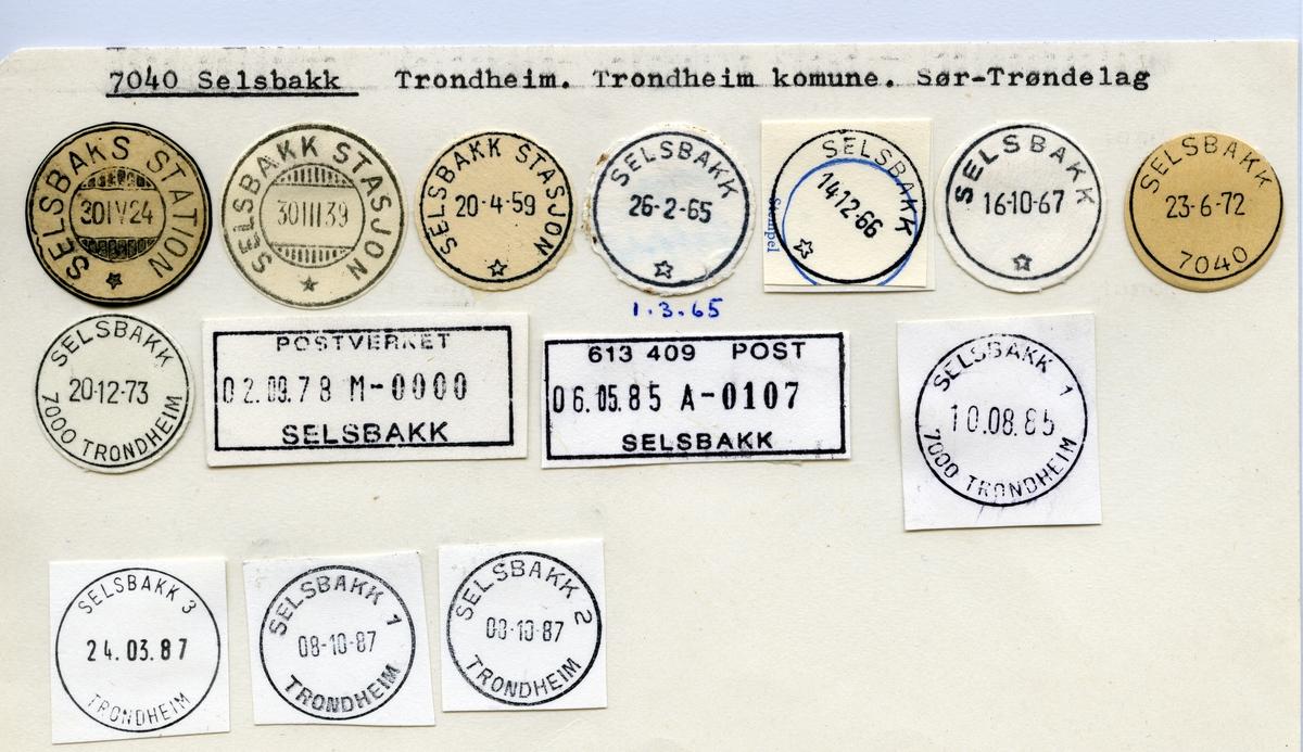 Stempelkatalog   7040 Selsbakk, Trondheim kommune, Sør-Trøndelag