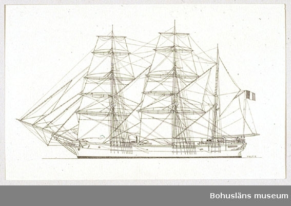 Montering/ram: Passepartout av tunn grå kartong; 55 x 66 cm, Tremastade barkskeppet Persitant, byggd 1865 i Nantes. Övrig historik se UM72.26.001.